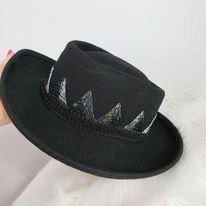 Vintage beaded wool hat black wide brim